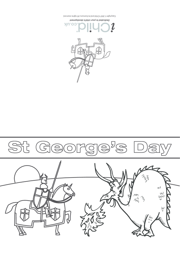 St. George's Day Card: Knight 'V' Dragon