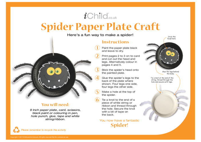 Thumbnail image for the Halloween Spider Paper Plate Craft activity.