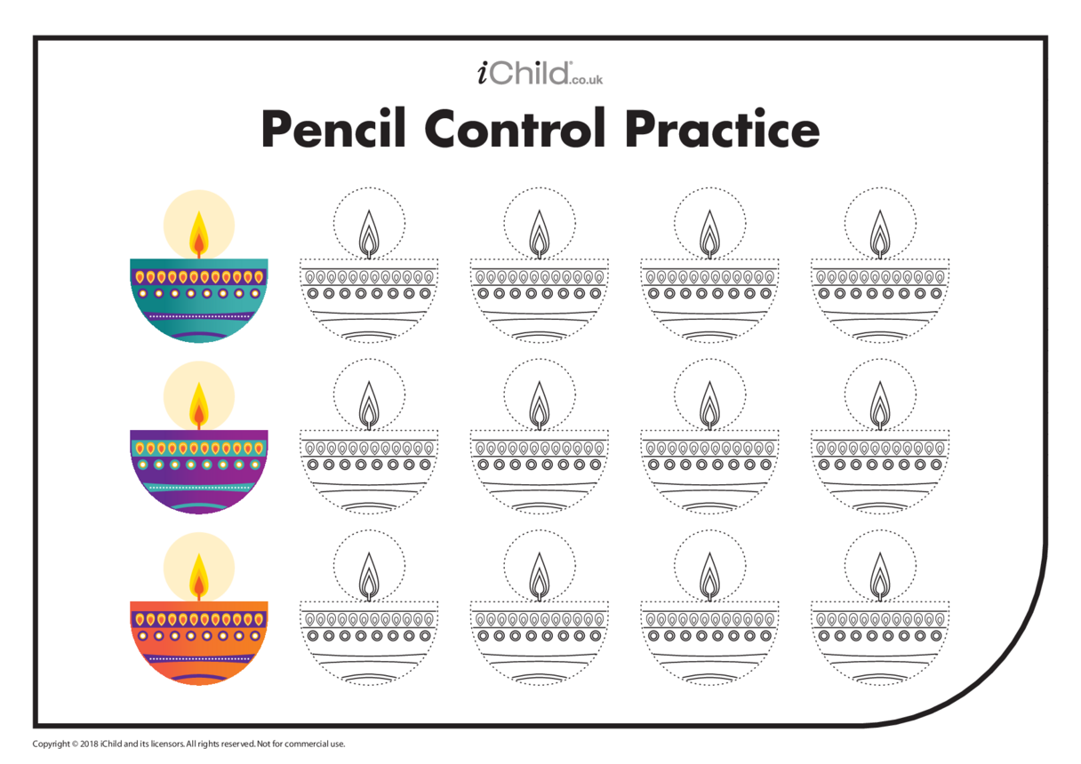 Diwali Pencil Control (many candles)