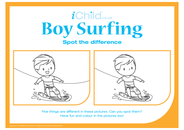 Thumbnail image for the Spot the Difference Surfing (Boy) activity.
