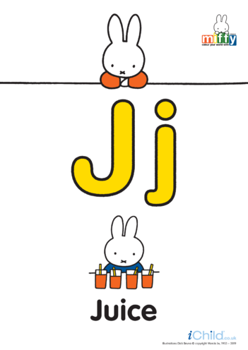 Thumbnail image for the J: Miffy's Letter Jj (less ink) activity.