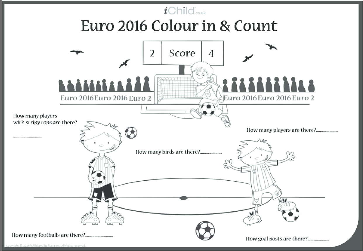 Euro 2016 Colour in & Count