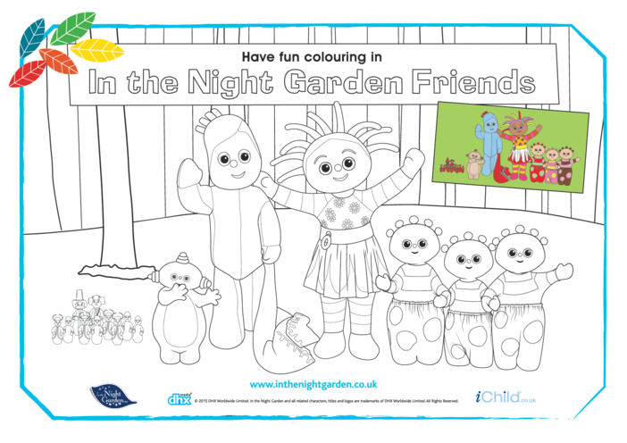 Thumbnail image for the In the Night Garden Friends Colouring in Picture activity.