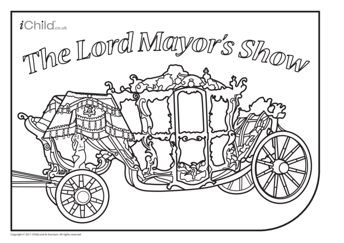 Thumbnail image for the Lord Mayor's Show Carriage Colouring In Picture activity.