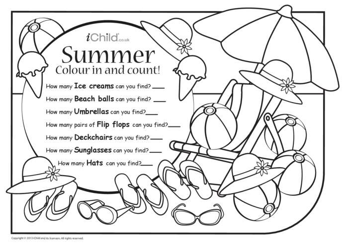 Thumbnail image for the Colour in & Count - Summer activity.