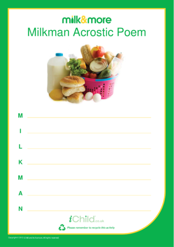 Thumbnail image for the Milkman Acrostic Poem activity.