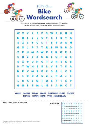 Thumbnail image for the Bike Wordsearch activity.