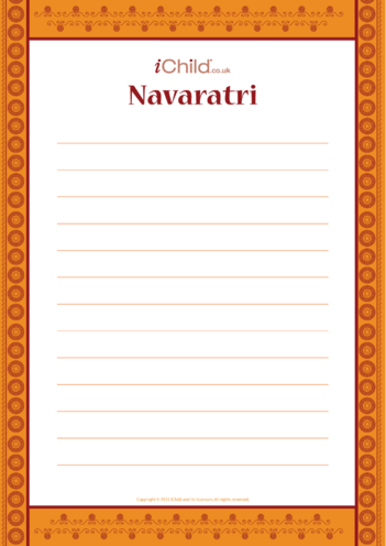 Thumbnail image for the Navaratri Lined Writing Paper activity.