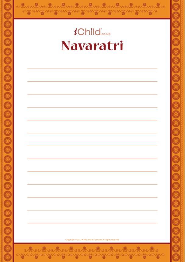 Navaratri Lined Writing Paper