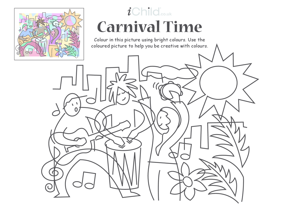 Carnival Colouring in picture