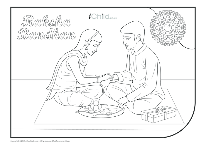 Thumbnail image for the Raksha Bandhan Colouring in PIcture activity.