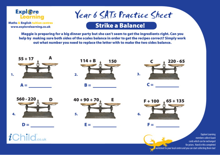 Thumbnail image for the SATS Practice Paper Year 6: Strike a Balance activity.