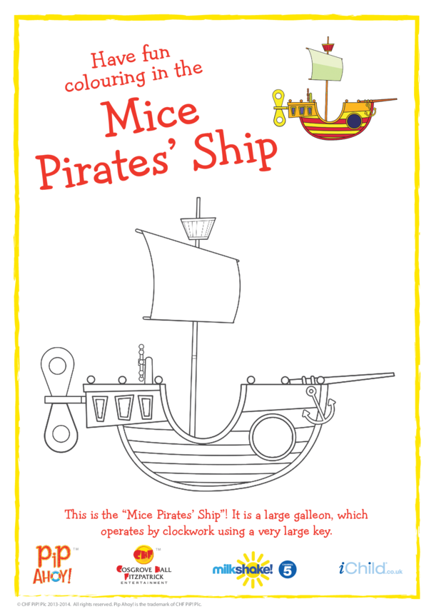 Mice Pirates' Ship Colouring In Picture (Pip Ahoy!)