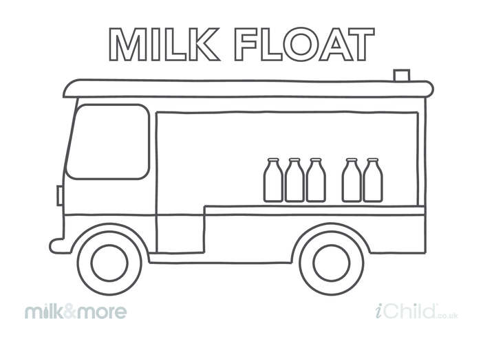 Thumbnail image for the Milk Float (with milk bottles) Colouring in Picture activity.