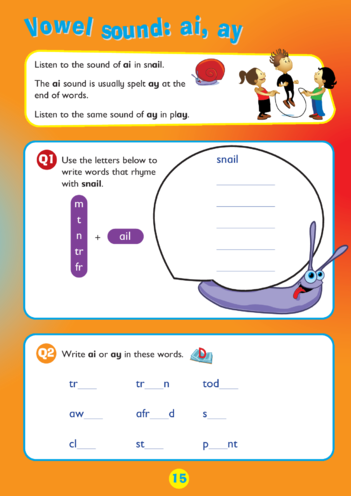 Thumbnail image for the Collins Easy Learning KS1 English Spelling, Vowel Sound: ai and ay activity.