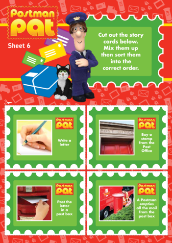 Thumbnail image for the Postman Pat: Story Cards Part 1 (EYFS/KS1) activity.