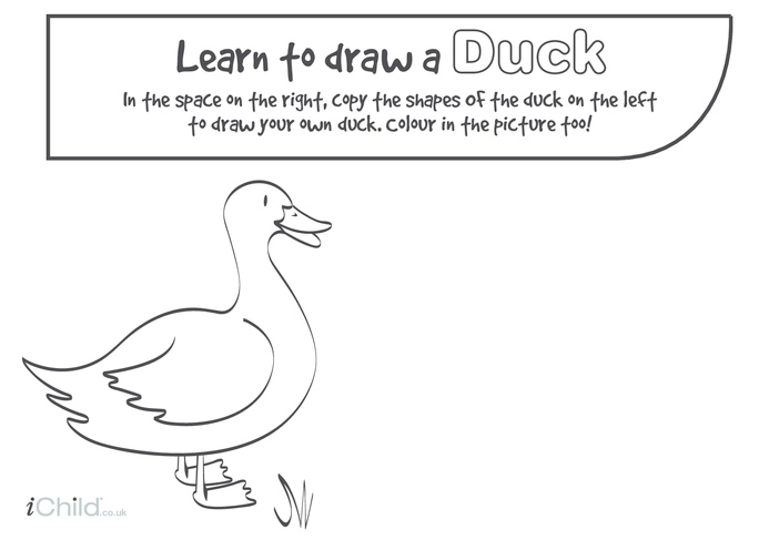 Thumbnail image for the Learn to Draw a Duck activity.