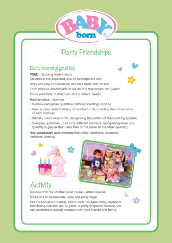 Thumbnail image for the 2021 BABY born Activity 4 Party Friendships activity.
