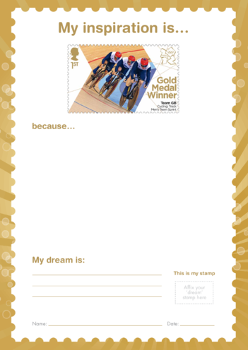 Thumbnail image for the My Inspiration Is- Team GB Cycling Men's Sprint- Gold Medal Winner Stamp activity.