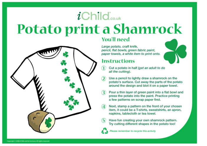 Thumbnail image for the Potato Print a Shamrock activity.
