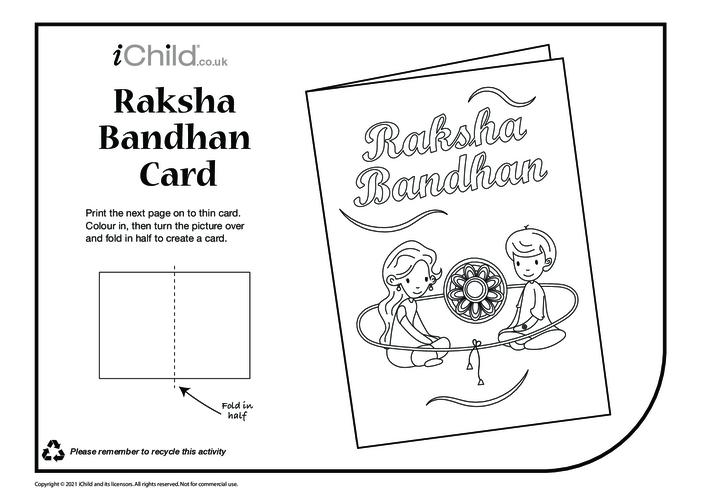 Thumbnail image for the Raksha Bandhan Card (black & white) activity.