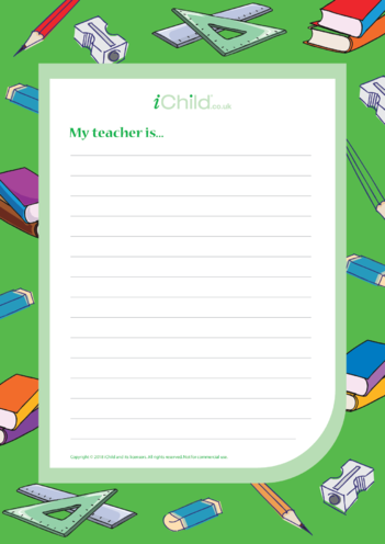 Thumbnail image for the My Teacher is ... Handwriting Template activity.