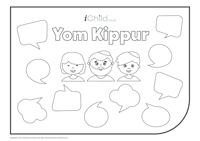 Thumbnail image for the Yom Kippur Colour in & Fill in Speech Bubbles activity.