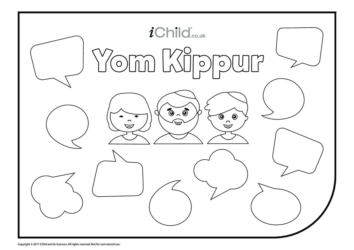 Yom Kippur Colour in & Fill in Speech Bubbles