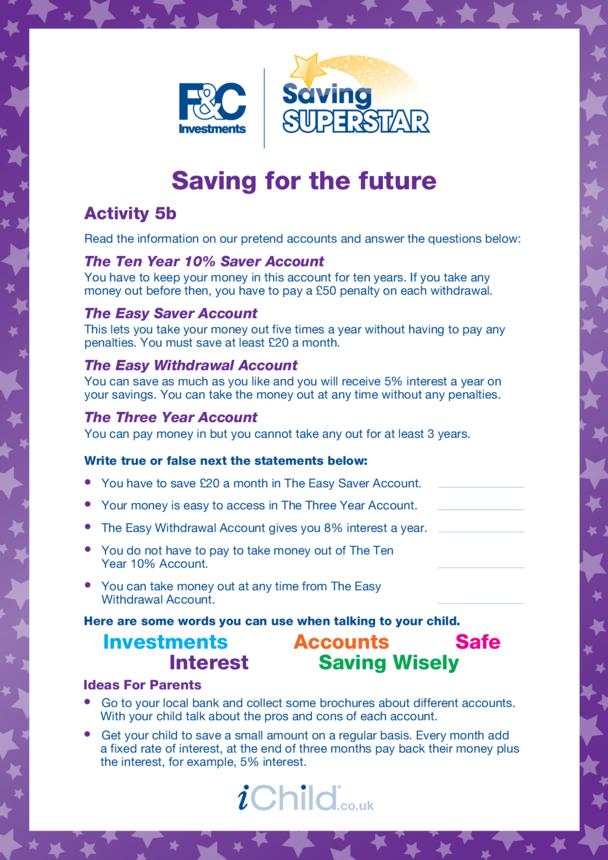 7-11 years (5b) Saving for the future