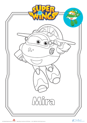 Thumbnail image for the Super Wings: Mira Colouring in Picture (Robot Form) activity.
