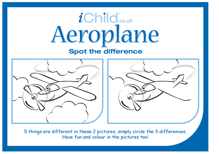 Thumbnail image for the Aeroplane Spot the Difference activity.