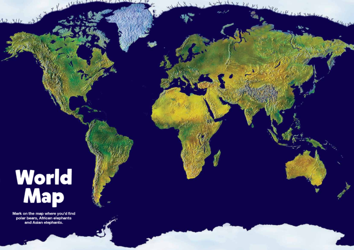 Thumbnail image for the Primary 1) Giants of the Animal Kingdom- World Map activity.