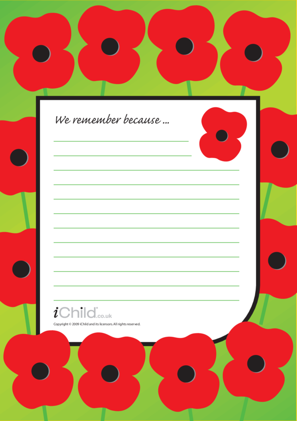 Remembrance Day Lined Writing Paper Template