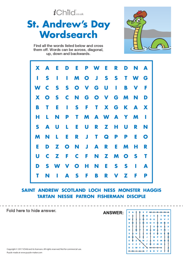 St. Andrew's Day Wordsearch