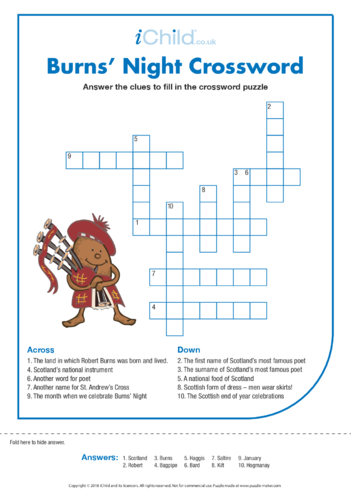 Thumbnail image for the Burns' Night Crossword activity.