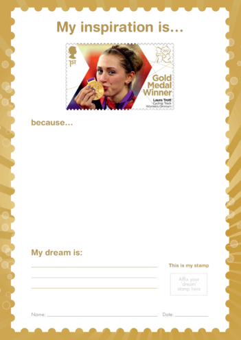 Thumbnail image for the My Inspiration Is- Laura Trott- Gold Medal Winner Stamp Template activity.