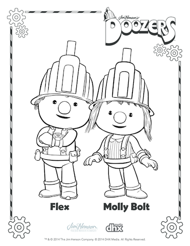 Thumbnail image for the Flex & Molly Bolt Colouring in Picture (Doozers) activity.