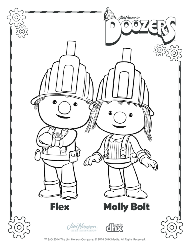 Flex & Molly Bolt Colouring in Picture (Doozers)
