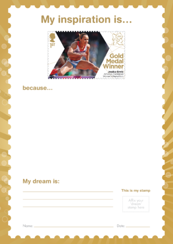 Thumbnail image for the My Inspiration Is- Jessica Ennis- Gold Medal Winner Stamp Template activity.