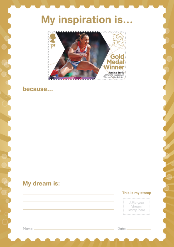 My Inspiration Is- Jessica Ennis- Gold Medal Winner Stamp Template