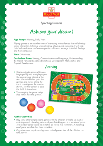 Thumbnail image for the Early Years 5) Achieve Your Dream Lesson Plan activity.