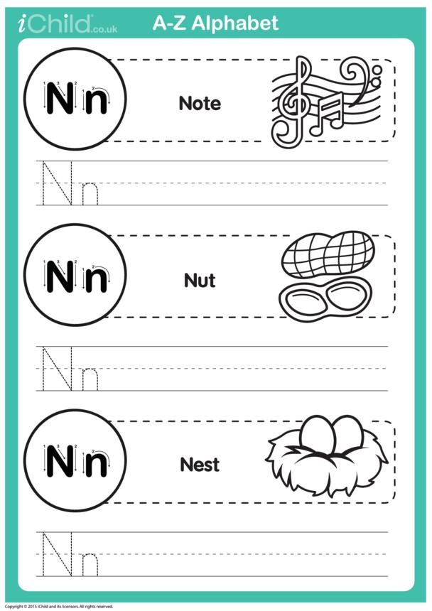 N: Write the Letter N