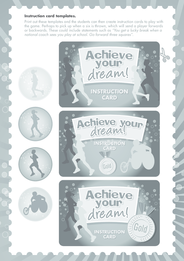 Secondary 5) Achieve Your Dream- Instruction Card Templates Black & White