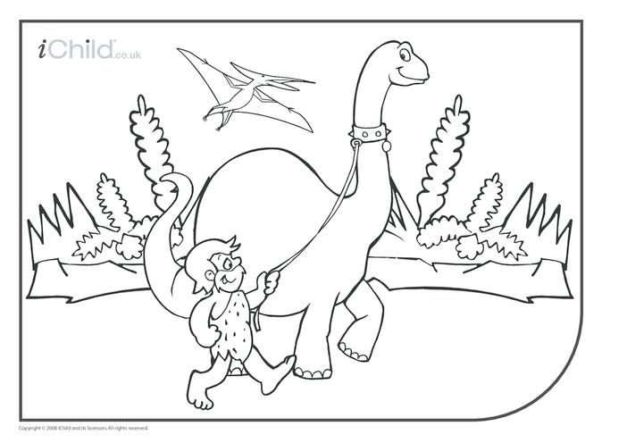 Thumbnail image for the Dinosaur Colouring in picture activity.