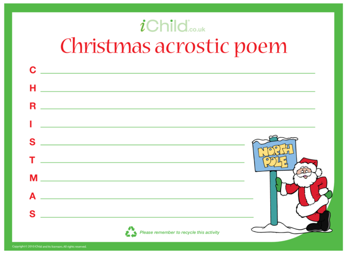 Thumbnail image for the Christmas Acrostic Poem activity.