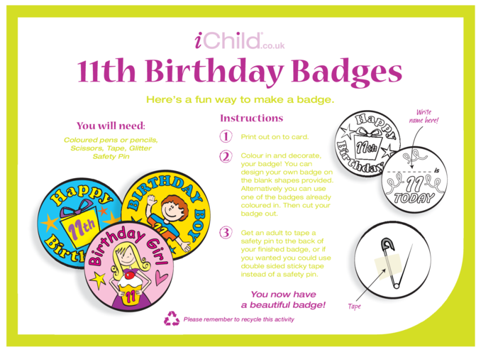 Thumbnail image for the Birthday Badges designs template for a 11 year old 11th birthday activity.