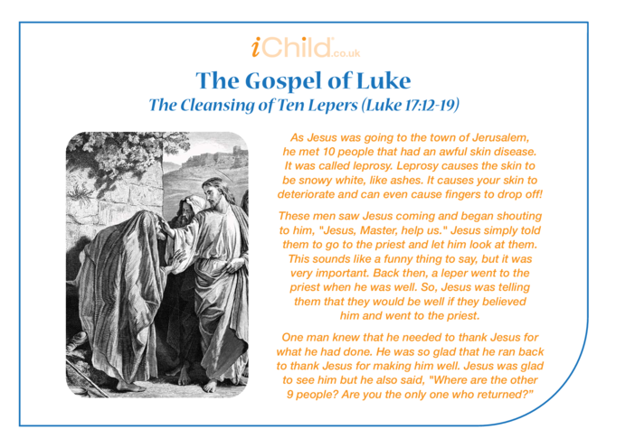 Thumbnail image for the The Gospel of St. Luke: The Cleansing of Ten Lepers activity.