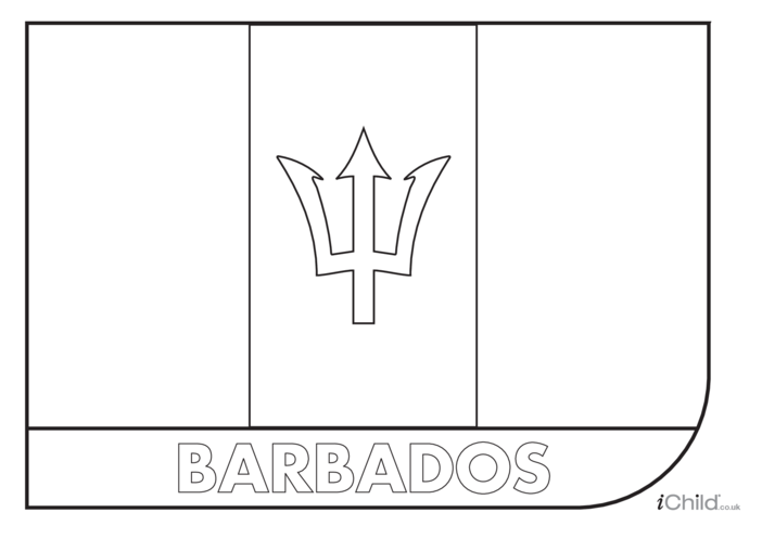 Thumbnail image for the Barbados Flag Colouring in Picture (flag of Barbados) activity.