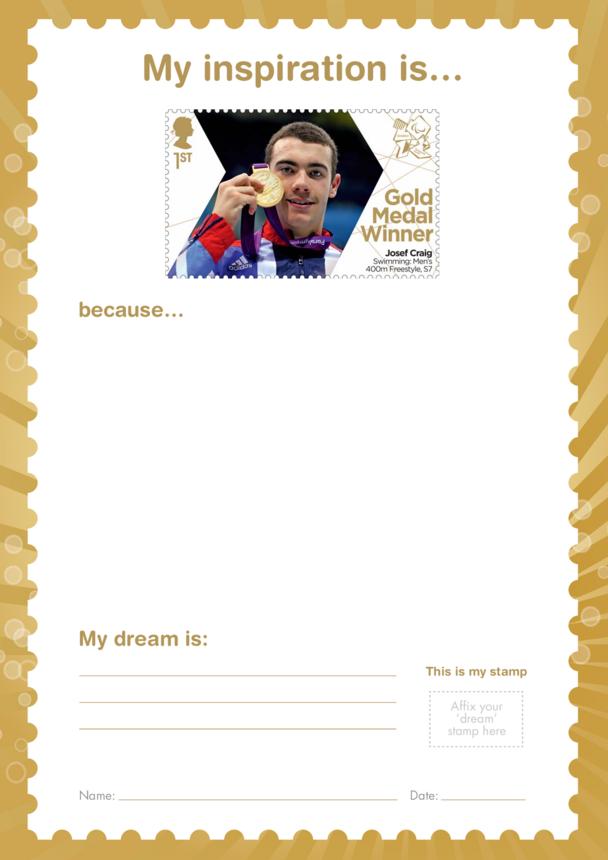 My Inspiration Is- Josef Craig- Gold Medal Winner Stamp Template