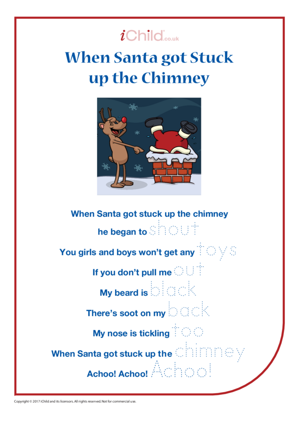When Santa Got Stuck up the Chimney: Song & Handwriting Practice Sheet